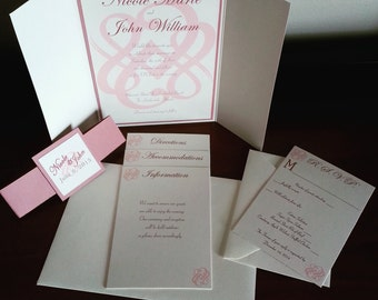 Magnetic Blush Pink, Taupe and Ivory Wedding Invitation