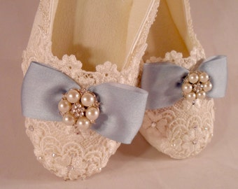 Lace Wedding Flats, Bridal Ballet Flats, Blue Silk Bow Front Slippers, Dancing Comfort Shoes