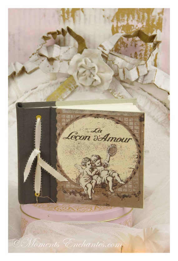 """Album photo """"La lecon d'Amour """" angels french made linen printed vintage shabby love"""