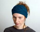 Knitted Headband Ear Warmer  Winter HeadbandKnit Hair Band in petrol Blue Knit Headband Women's Accessories womens headband