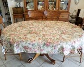 Tablecloth 82 x 59 Oval Floral Roses on Beige Soft Tan New Vintage Free Shipping!
