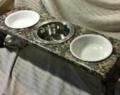 Faux Granite Feeding Station - 3 Bowl
