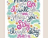 11x14-in Ruth 1:16 Scripture Illustration Print.