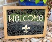 Welcome Sign Mosaic Fleur De Leis Outdoor