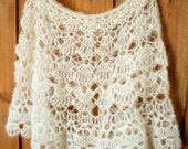 White Bridal Wrap - delicate lace crochet - Kid Mohair & Silk - READY TO SHIP