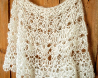 SALE - White Bridal Wrap - delicate lace crochet - Kid Mohair & Silk - READY to SHIP