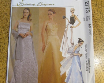 ELEGANT Princess Seamed Evening Gown - Square Neckline, A-Line Skirt & Stole - Choose Your Size - UNCUT Sewing Pattern McCalls 2773