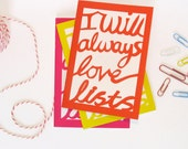 Notebook: I will always love lists