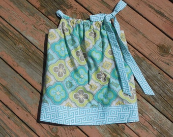 SALE - Girl's Toddlers Aqua and Gray Quatrefoil Pillowcase Dress Ready To Ship Size 3T