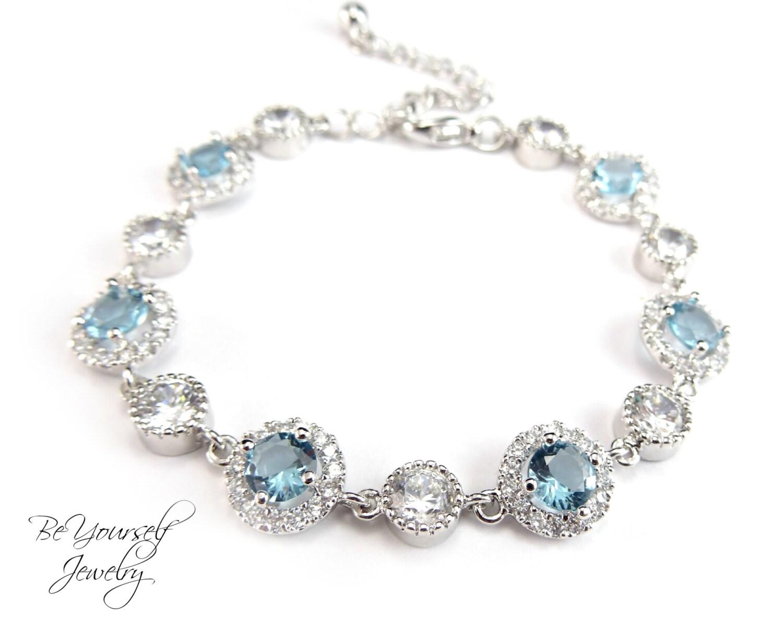 Aquamarine Bridal Bracelet Blue Wedding Jewelry Cubic Zirconia Soft Pale Blue Bride Bracelet White Crystal Wedding Bracelet Something Blue