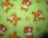 Fox Foxy Foxes Butterfly Green Cotton Fabric Fat Quarter or Custom Listing