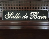 Salle De Bain Paris Apt French Chic Shabby Bathroom Sign Plaque Wooden You Pick from 10+ Colors Hand Painted