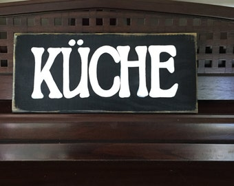 KUCHE German Old World Kitchen Sign Germany Deutschland Plaque Food Wooden Hand Painted Pick from 10+ Colors Rustic Farmhouse Living