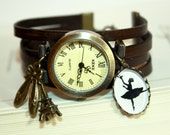 Prima Ballerina Silhouette Leather Bracelet Watch Wristwatch nature bronzecolored - special gift sister friend daughter ballet jewelry