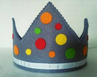 Multicolour Spot Felt Birthday Crown, Girls Birthday, Boys Birthday