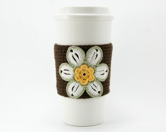 Coffee Cozy, Cup Cozy, Crocheted, Flower applique, Sleeve, Hot Cold Drink, white flower, forest center, cream trim, chocolate brown sleeve