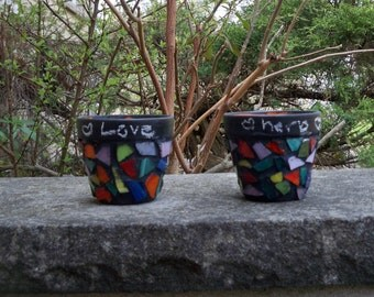 Two Small Mosaic Herb Planters with Chalkboard paint
