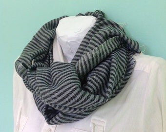 Scarf- Turbulence Gray and Black Cotton Ticking stripe Scarfs- Accessories-Ethiopian Scarf Men Women Cotton Scarf 2014- Echarpe-Black & Grey