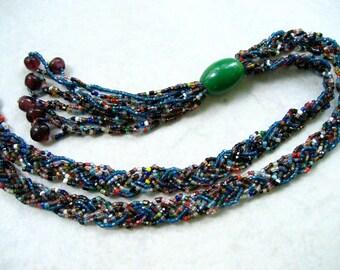 Vintage Flapper Necklace Glass Bead Braid Multicolor Tassels