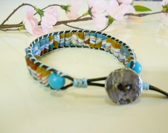BOHO Bracelet, Tribal Striped beads, Colors turquoise, gold, white, green, Black Leather, Antiqued Pewter Button, Unisex, Father's Day