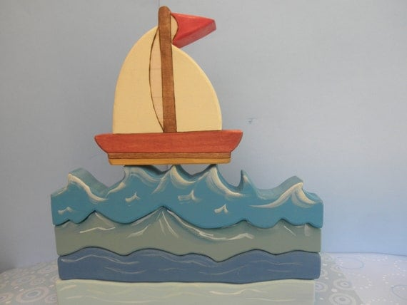 Kids Wooden Toy Sailboat No.1