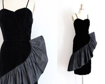 vintage 1950s dress // 50s black lush velvet bombshell evening dress