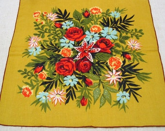 Vintage Mint Never Used Vibrant Summer Bouquet Printed Cotton Handkerchief