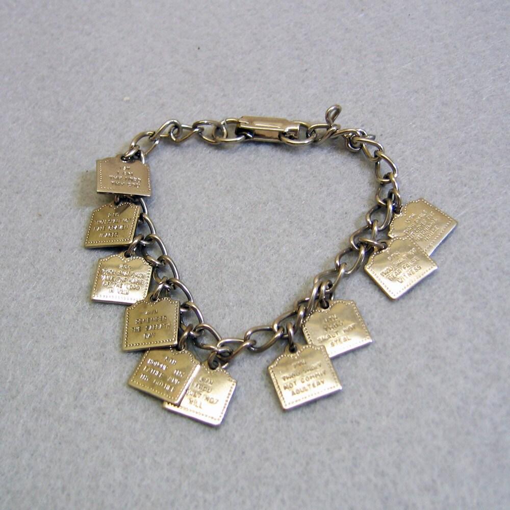 vintage 7 inch ten commandments charm bracelet by pandpf