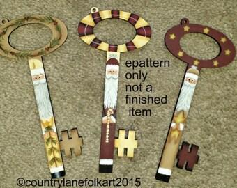 EPATTERN #0050 Santa Key ornaments, painting pattern, paint your own,digital download, Christmas ornaments,Santa pattern, Christmas pattern