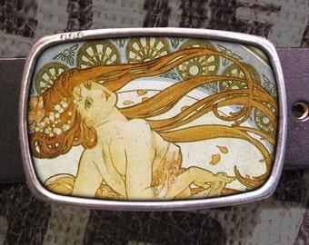 Art Nouveau Belt Buckle, Mucha Belt Buckle, Shabby Chic 613 (423)