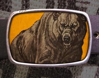 Bear Belt Buckle, Snarl Buckle, Vintage Inspired 512