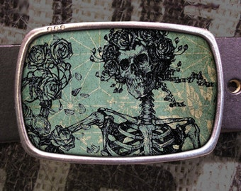 Grateful Skeleton Belt Buckle, Grateful Dead Buckle 572