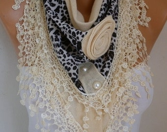 Cream Knitted Floral Scarf, Winter Shawl, Cowl Lace Bridesmaid Gift Bridal Accessories Gift Ideas For Her Women Fashion Accessories