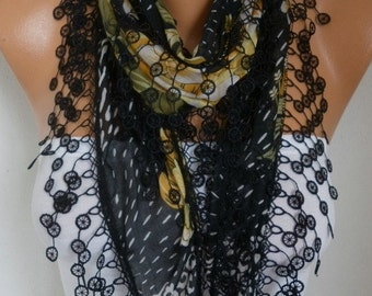 Black Cotton Floral Scarf Spring Summer Cowl Necklace Lace Shawl Bridesmaid Bridal Accessories Gift Ideas For Her Women Fashion Accessories