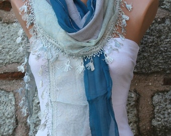 Blue Scarf Shawl, Wedding Scarf, Cowl Scarf Bridesmaid Gift Bridal Accessories Gift Ideas For Her Women Fashion Accessories