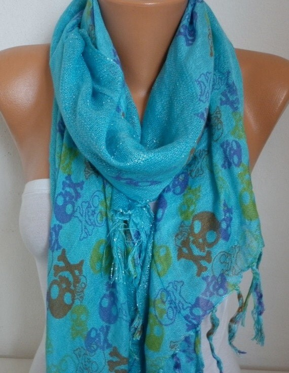 Turquoise Blue Skull Print Cotton Scarf,Crossbones, Silvery, Cowl Scarf, Shawl, Gift Ideas For, Her Women Fashion Accessories Christmas Gift