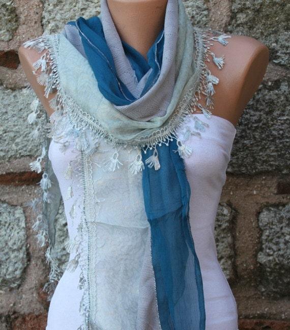 Blue Scarf Shawl, Wedding Scarf, Cowl Scarf Bridesmaid Gift Bridal Accessories Gift Ideas For Her Women Fashion Accessories