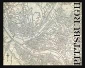 Pittsburgh Map - Street Map Vintage Print Poster Title Gray Grunge
