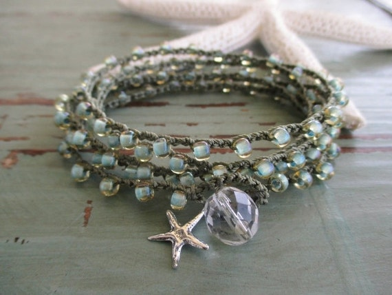 "Seafoam crochet wrap bracelet necklace ""Malibu Star"", sterling silver starfish dangle, olive green, pale mint, surfer chic beach boho"