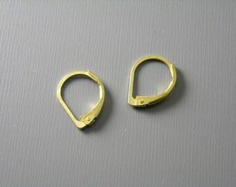 Grade AA 13mm Raw Brass Hoop Earrings with Lever back - 20 pcs