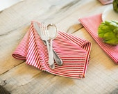 Broad Red Stripe Dinner Napkins (Set of 2)