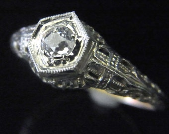 Art Deco Old European Cut Diamond 14k White Gold Engagement Ring Vintage Estate