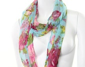 Infinity Circle Cowl floral field flower mori cottage fairy tale teal Scarf Sheer Silky Chiffon shawl wrap