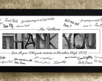 Personalized THANK YOU Gift - Alphabet Photography Signature Print, Gift for Teacher, Thank You to Coach