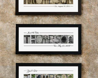 LAST NAME SIGN - Home Decor - Alphabet Photo Letter Art - Wall Art - Wall Decor - Framed Print
