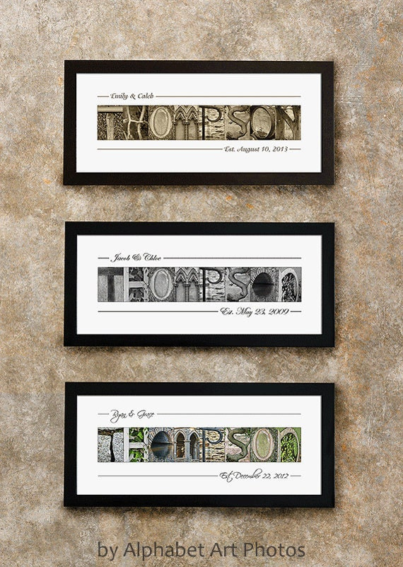 Last name sign home decor alphabet photo letter art wall for Home decor names