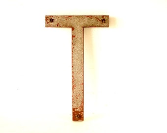 "Vintage Industrial Metal Letter ""T"" Marquee Sign, 10 inches tall (c.1950s) N2 - Industrial Decor, Altered Art Assemblage Supply"