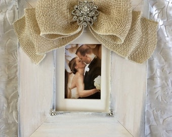 Wedding Frame Bow Burlap White Ivory Personalize Crystal Pearls Jeweled Gift Reception Portrait