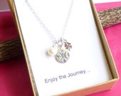 Sterling Silver Compass, Lucky Four Leaf Clover, and Birthstone Necklace with Sentiment Card