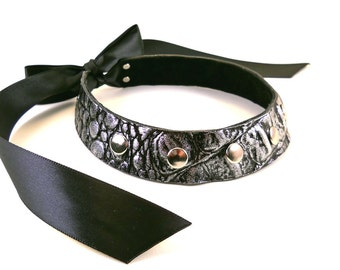 SALE Starry Night Silver on Black Leather with Silver Studs Collar Choker Necklace Goth Punk Cosplay Rocker Fashion Wear